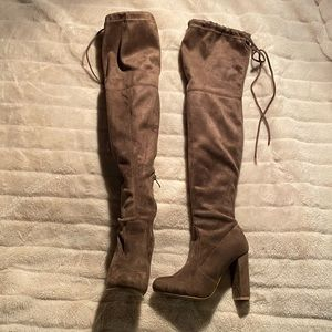 Shoes - Tan Suede Thigh High Boots
